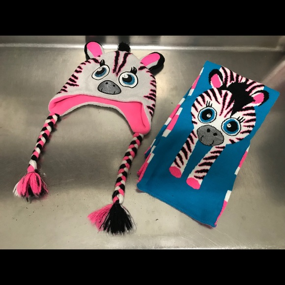 Justice Other - Justice Zebra Hat and Reversible Scarf Set